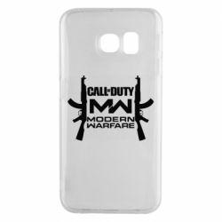 Чехол для Samsung S6 EDGE Call of debt MW logo and Kalashnikov