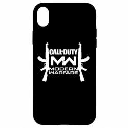 Чехол для iPhone XR Call of debt MW logo and Kalashnikov