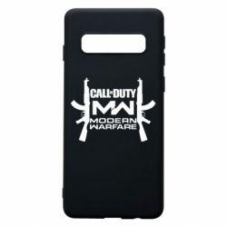 Чехол для Samsung S10 Call of debt MW logo and Kalashnikov