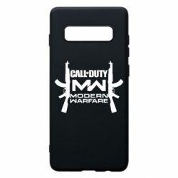 Чехол для Samsung S10+ Call of debt MW logo and Kalashnikov