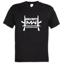 Мужская футболка  с V-образным вырезом Call of debt MW logo and Kalashnikov