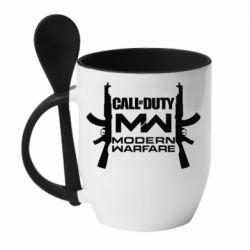 Кружка с керамической ложкой Call of debt MW logo and Kalashnikov