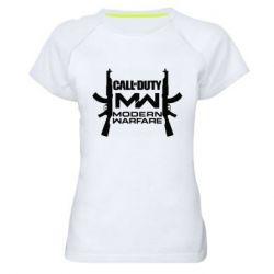 Женская спортивная футболка Call of debt MW logo and Kalashnikov