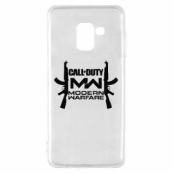 Чехол для Samsung A8 2018 Call of debt MW logo and Kalashnikov