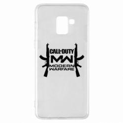 Чехол для Samsung A8+ 2018 Call of debt MW logo and Kalashnikov