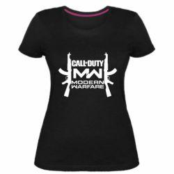 Женская стрейчевая футболка Call of debt MW logo and Kalashnikov