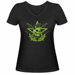 Жіноча футболка з V-подібним вирізом Call of Duty cranium