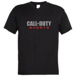 Мужская футболка  с V-образным вырезом Call of Duty Ghosts Logo - FatLine