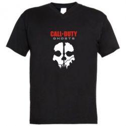 Мужская футболка  с V-образным вырезом Call of Duty Ghosts - FatLine
