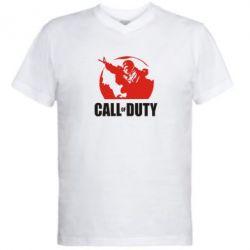 Мужская футболка  с V-образным вырезом Call of Duty Logo - FatLine
