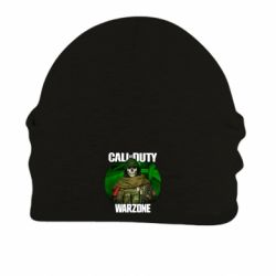 Шапка на флісі Call of duty Warzone ghost green background