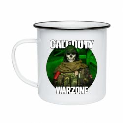 Кружка емальована Call of duty Warzone ghost green background