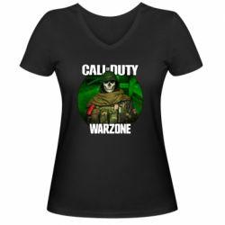 Жіноча футболка з V-подібним вирізом Call of duty Warzone ghost green background