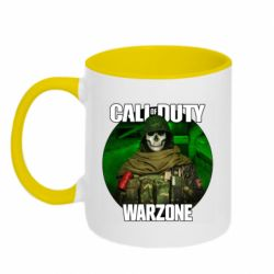 Кружка двоколірна 320ml Call of duty Warzone ghost green background