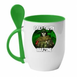 Кружка з керамічною ложкою Call of duty Warzone ghost green background