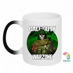 Кружка-хамелеон Call of duty Warzone ghost green background
