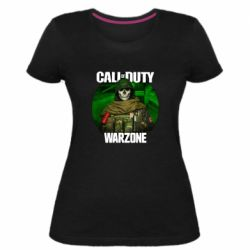 Жіноча стрейчева футболка Call of duty Warzone ghost green background