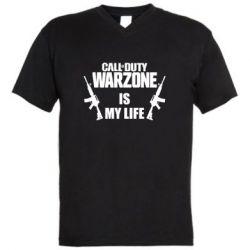 Мужская футболка  с V-образным вырезом Call of duty warzone is my life M4A1