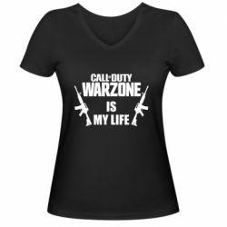 Женская футболка с V-образным вырезом Call of duty warzone is my life M4A1