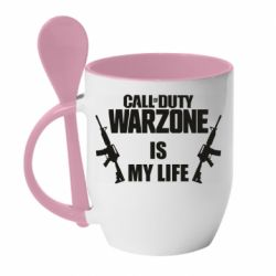 Кружка с керамической ложкой Call of duty warzone is my life M4A1