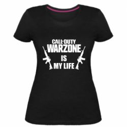 Женская стрейчевая футболка Call of duty warzone is my life M4A1