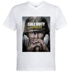 Чоловіча футболка з V-подібним вирізом Call of Duty WW2 poster