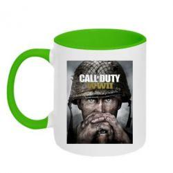 Кружка двоколірна 320ml Call of Duty WW2 poster