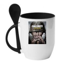 Кружка з керамічною ложкою Call of Duty WW2 poster