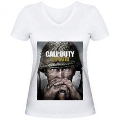 Жіноча футболка з V-подібним вирізом Call of Duty WW2 poster