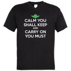 Мужская футболка  с V-образным вырезом Calm you shall keep