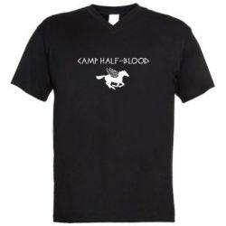 Мужская футболка  с V-образным вырезом Camp half-blood - FatLine