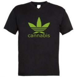 Мужская футболка  с V-образным вырезом Cannabis - FatLine