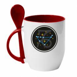 Кружка с керамической ложкой Capricorn constellation