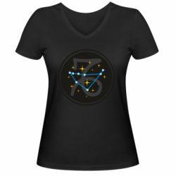 Женская футболка с V-образным вырезом Capricorn constellation