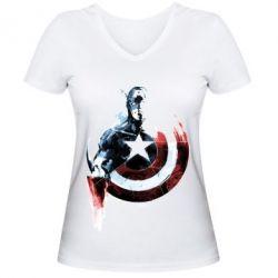 Купить Женская футболка с V-образным вырезом Captain America by naratani on deviant, FatLine
