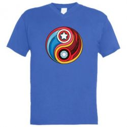 Мужская футболка  с V-образным вырезом Captain America & Iron Man - FatLine