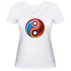 Женская футболка с V-образным вырезом Captain America & Iron Man - FatLine