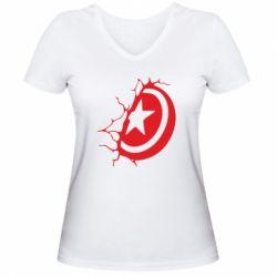 Жіноча футболка з V-подібним вирізом Captain America shield