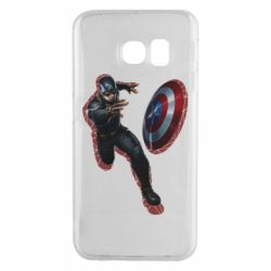 Чехол для Samsung S6 EDGE Captain america with red shadow