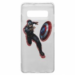 Чехол для Samsung S10+ Captain america with red shadow