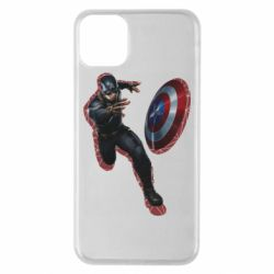 Чехол для iPhone 11 Pro Max Captain america with red shadow