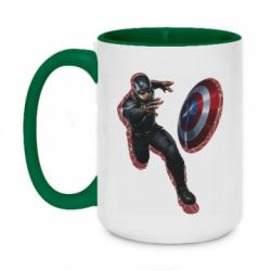 Кружка двоколірна 420ml Captain america with red shadow