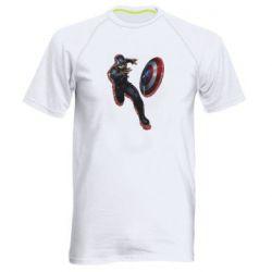 Мужская спортивная футболка Captain america with red shadow