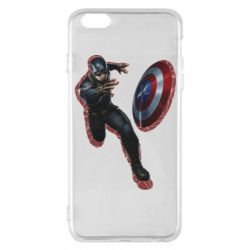 Чехол для iPhone 6 Plus/6S Plus Captain america with red shadow