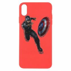 Чехол для iPhone X/Xs Captain america with red shadow