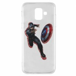 Чехол для Samsung A6 2018 Captain america with red shadow