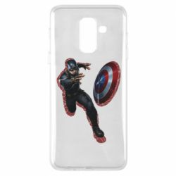 Чехол для Samsung A6+ 2018 Captain america with red shadow