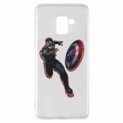 Чехол для Samsung A8+ 2018 Captain america with red shadow