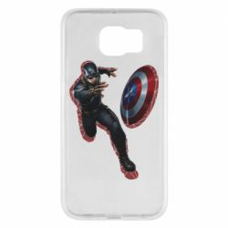 Чехол для Samsung S6 Captain america with red shadow