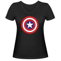 Женская футболка с V-образным вырезом Captain America - FatLine